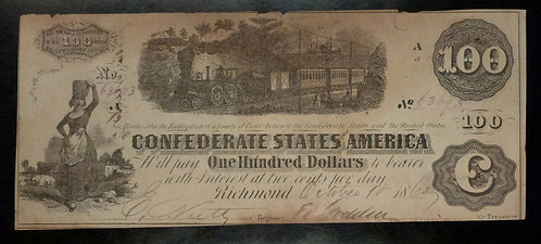 1862 CONFEDERATE STATES $100 note CSA Train Currency variety T-40