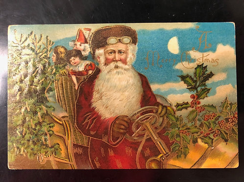 RARE 1908 Santa Claus DRIVING a Motor Car & Wearing Goggles - Christmas Postcard