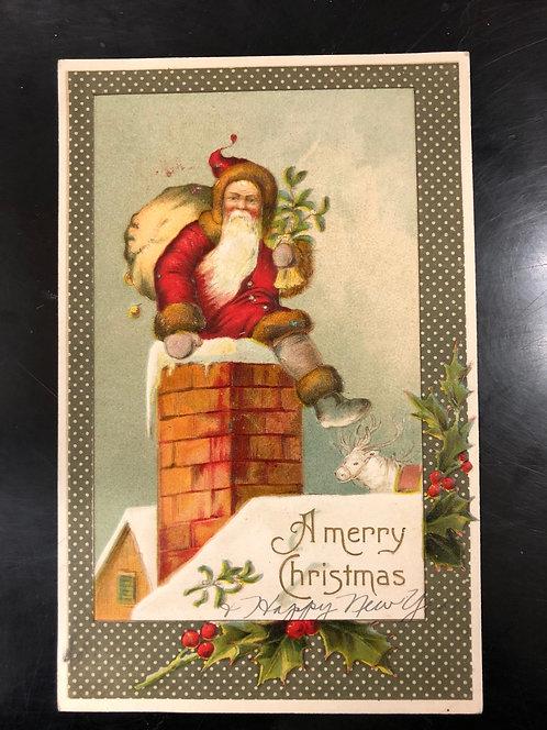 1908 Antique German Postcard, Merry Christmas, Santa going down chimney