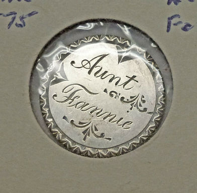 1875 Seated Liberty Dime LOVE TOKEN Aunt Fannie