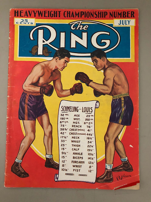 1938 The Ring Magazine Joe Louis-Max Schmeling cover, boxing and wrestling