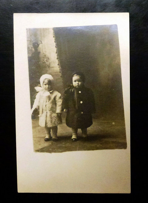VINTAGE B & W Real Photo Postcard 2 small children dressed in hats and coats