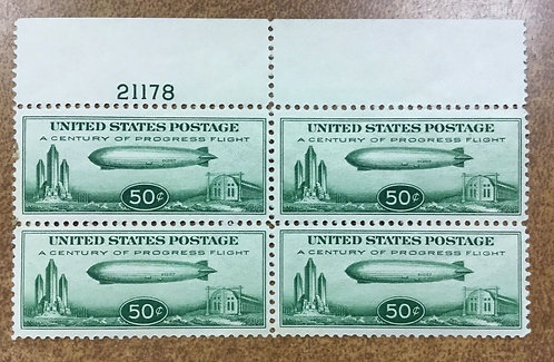 US C18 Zeppelin PL# Block 4 OG NH top plate number 1933 50c Airmail