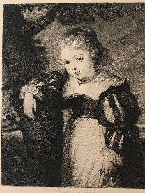 Vintage Etching by the artist Peter Paul Rubens: The Painter's Daughter 1877
