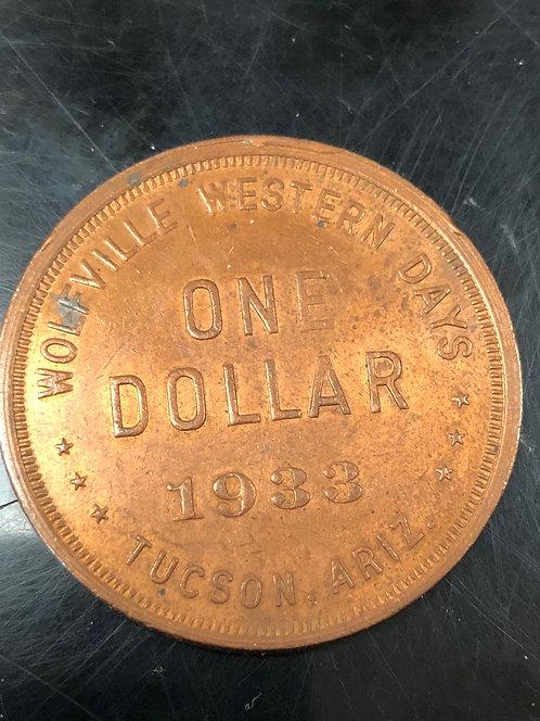 Tucson Arizona 1933 Bronze So-Called Dollar