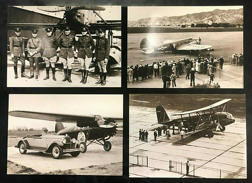Set of 4 Postcards: AIRPLANES & PILOTS, 1924-1933, T-32 Condor, Lockheed Vega