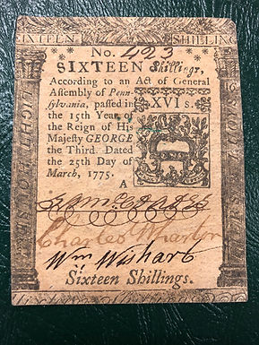 1775 Pennsylvania Colonial Currency 16 Shilling Note, Lighthouse