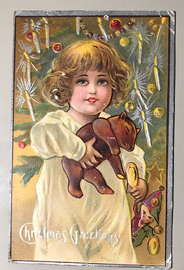 Antique 1913 Christmas Greetings Postcard, Little Girl w/ Teddy Bear