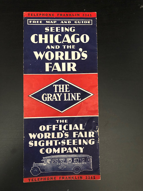 Vintage 1933 Chicago World's Fair Gray Line Official Sight-Seeing Map Guide