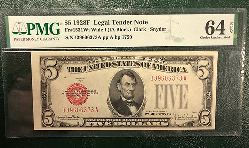 1928F $5 Legal Tender Note Wide I (IA Block) PMG Graded 64 Choice Uncirculated
