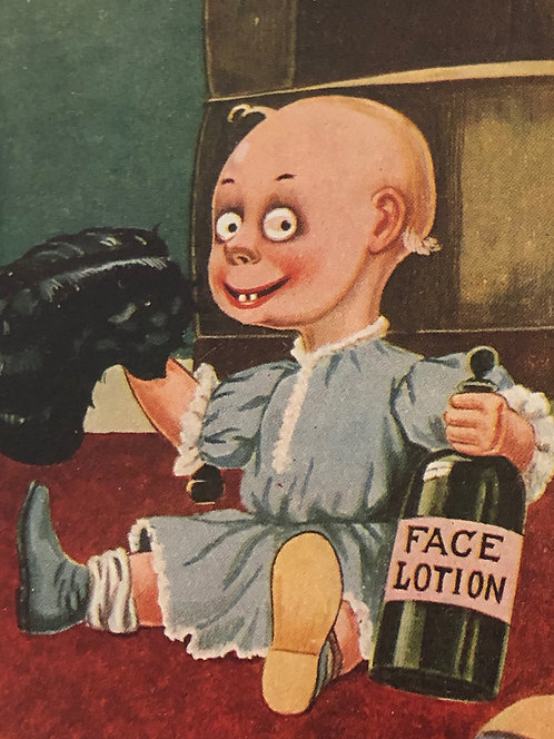 "Humorous BIZARRE Antique Postcard 1911 ""Baby has Father's Hair"", NM Territory"