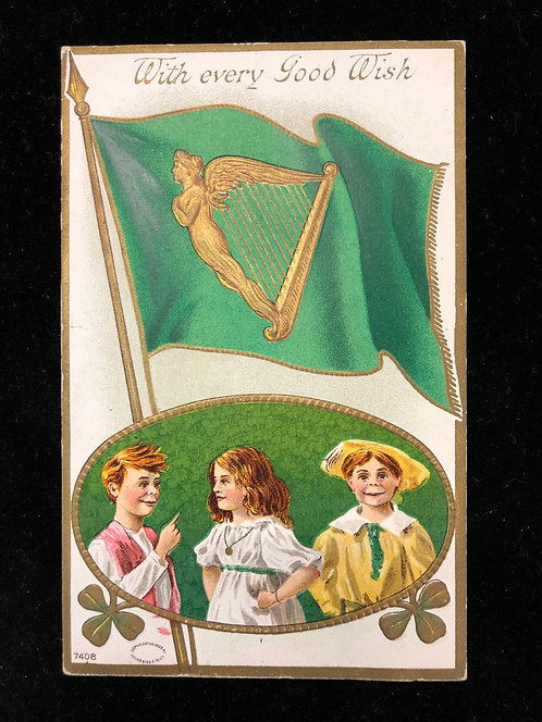 Antique St. Patrick's Day postcard, green flag w/Gold Harp & children & clover
