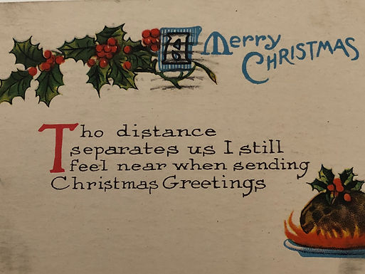 Vintage 1918 MERRY CHRISTMAS Postcard, Holly and Roast
