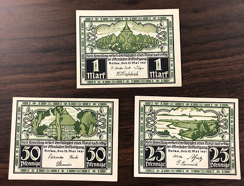 3 NOTGELD Emergency Notes 1921 from Germany, including RARE 1 Mark note