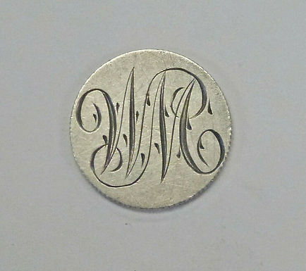 LOVE Token W.M. Fancy Letters on 1901 Mexico Silver 5 Centavos