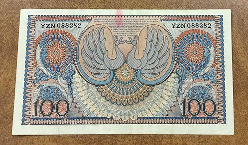 1952 INDONESIA paper money 100 Rupiah P-46 3 letter prefix
