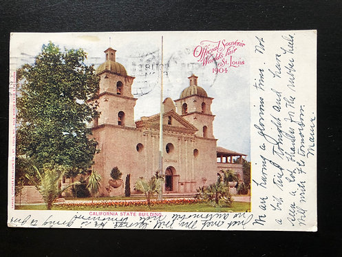 1904 St. Louis Exposition Postcard, California State Building, Official Souvenir