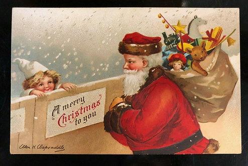 "Antique Postcard by Ellen Clapsaddle, ""Merry Christmas"" Child Peeking at Santa"