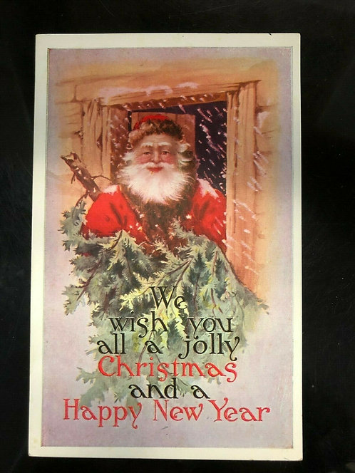 ANTIQUE 1900's Postcard Santa Claus Cabin, Jolly Christmas and Happy New Year