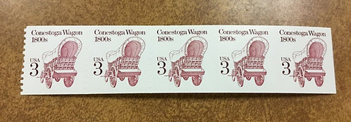 2252b  3¢ CONESTOGA WAGON  IMPERF Strip of 5 SHINY GUM RARE MAJOR ERROR