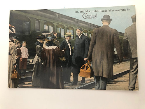 Vintage Color Postcard John Rockefeller arrive at a TRAIN STATION in Cleveland