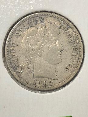 1905-O  Barber Silver Dime  VF