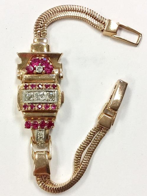 14K VINTAGE ROSE GOLD LADIES WATCH DIAMONDS & RUBIES ESKA SWISS