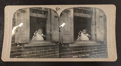 "Antique 1900's Stereoview ""Bye, Bye, Papa"" CUTE BABY IN THE WINDOW"