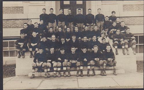 1916 Real Photo Postcard Football Team, leather helmet