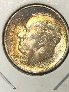 1946 P Roosevelt Silver Dime BU, Rainbow Toning
