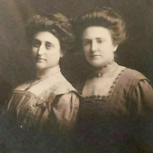 2 Women GIBSON Girl hairstyles Edwardian Dresses REAL Photo Postcard