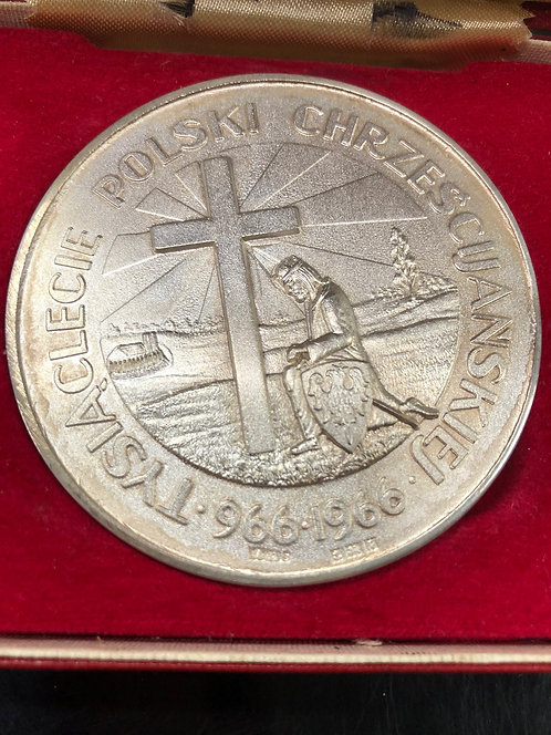 Millennium of Christianization of Poland In Box 3 OZ Sterling Silver Medal RARE