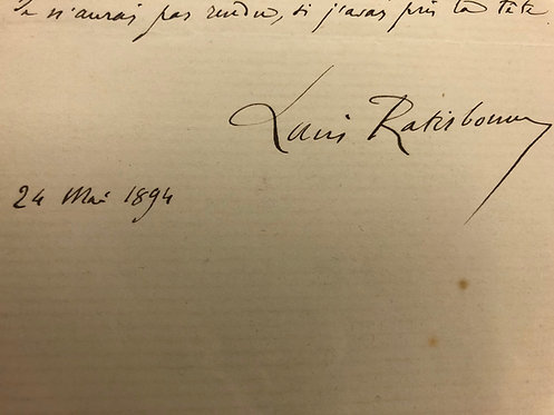 Louis Ratisbonne 1894 AUTOGRAPHED LETTER in French