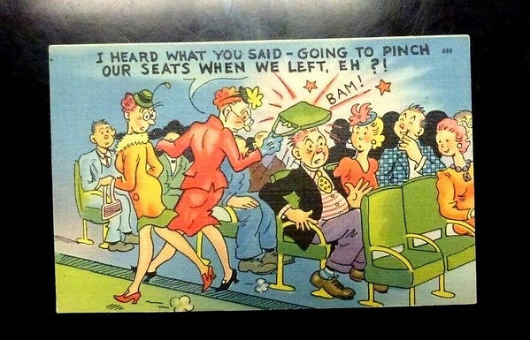 "Vintage LINEN postcard, COMIC Cartoon ""Going to Pinch our Seats"" joke"