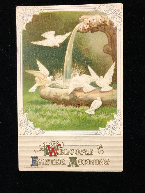 Easter Morning Antique Postcard with Doves, Winsch
