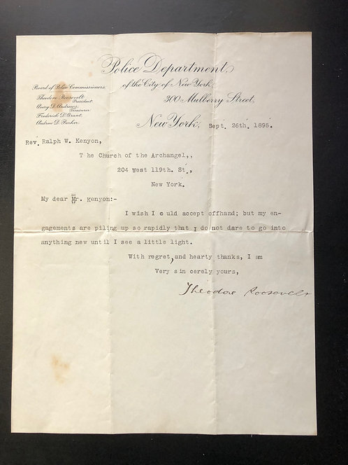Theodore Roosevelt - Typed letter Autographed 09/26/1895