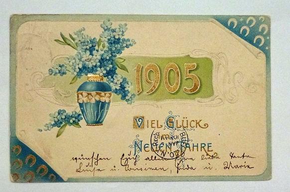 1905 GERMAN New Year Viel Gluck Neuen Jahre Postcard  Embossed