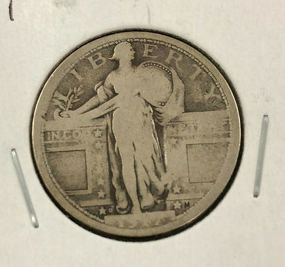 1917 D STANDING LIBERTY Silver Quarter 25¢, Var 1, G/VG