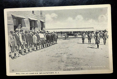 RPPC Antique Postcard Roll Call at CAMP DIX WW1, Wrightstown NJ Soldiers, Cars