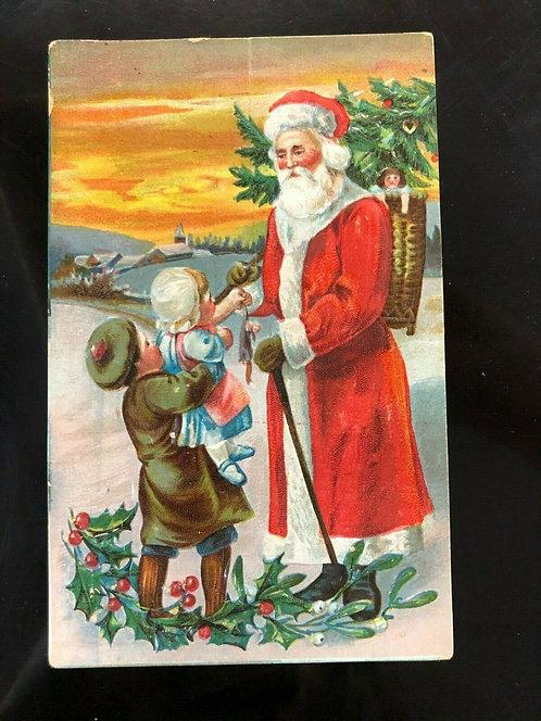 1900's SANTA CLAUS Postcard -giving toys to Victorian children w/ ORANGE SUNSET