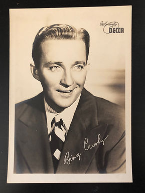 Bing Crosby 1930's Original DECCA press headshot photo with Autograph