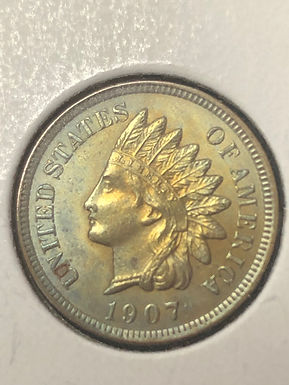 1907 P Indian Head Cent, MS62 - beautiful color!