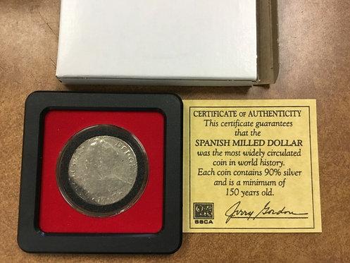 1783 Mexico 8 Reale Spanish Milled dollar US First Silver Pillar Dollar W/  COA