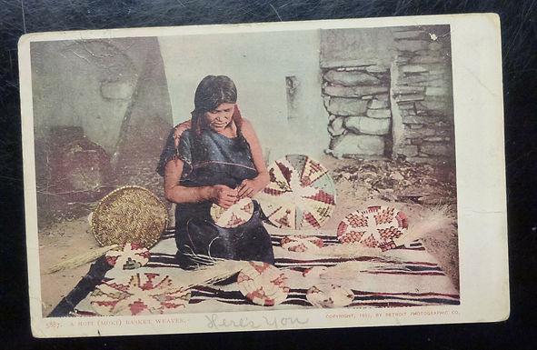 1902 RPPC Photo Postcard of HOPI (Moki) BASKET Weaver