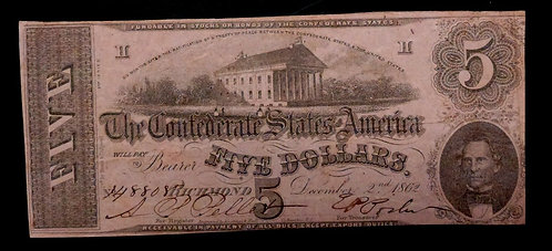 1862 T-53 $5 The Confederate States of America Note PF13 CIVIL WAR Era