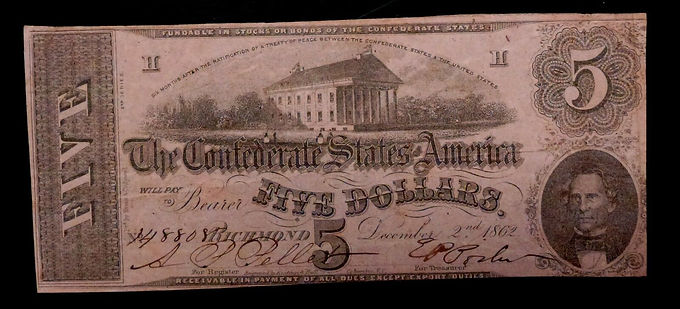 1862 T-53 $5 The Confederate States of America Note PF13 CIVIL WAR Era