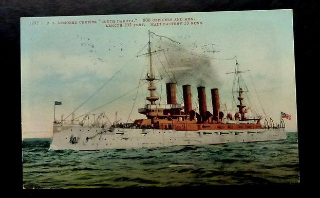 1908 U.S. Armored CRUISER South Dakota Postcard