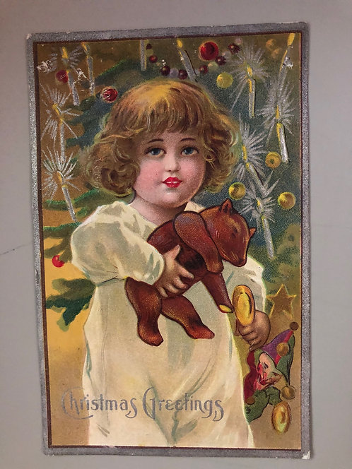 Antique 1913 Christmas Greetings Postcard, Little Girl w/ Teddy Bear & Tree