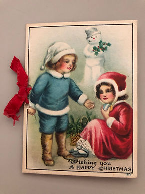 Antique Happy Christmas card 1912, little children and Snowman, tied with ribbon