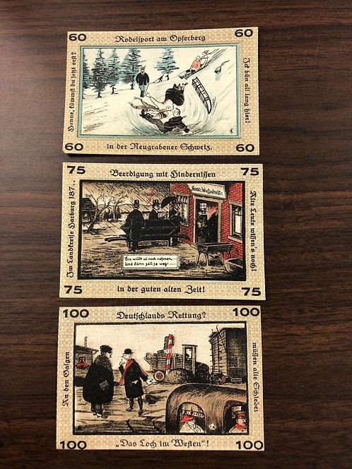 NEUGRABEN-HAUSBRUCH 3 NOTGELD Emergency Notes 1922 from Germany